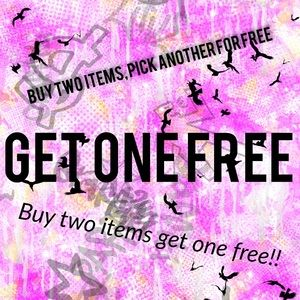 FREE: closet clean out! Buy 2 items get one FREE!